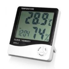 LCD ψηφιακό θερμόμετρο, ρολόι και μετρητής υγρασίας.