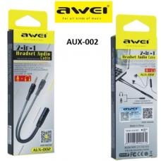 Καλώδιο ήχου ακουστικών 2in1 AUX-002 AWEI