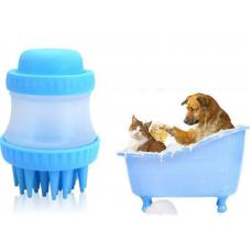 Βούρτσα με δοχείο μπάνιου σκύλου από σιλικόνη