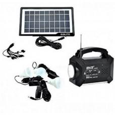Ηλιακό σύστημα φωτισμού - φόρτισης , Mp3 Player, FM Radio, 3  λάμπες LED, USB GD 8161