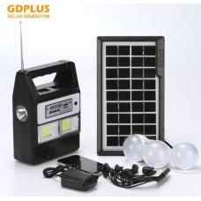 Ηλιακό σύστημα φωτισμού - φόρτισης , USB/SD, Mp3 Player, FM Radio, 3  LED 100LM  και τηλεχειριστήριο GD PLUS
