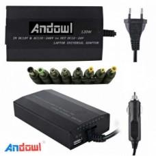 Τροφοδοτικό για λάπτοπ οικιακό – αυτοκινήτου 120W+USB Q-A23 ANDOWL