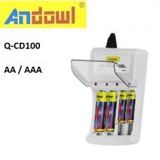Φορτιστής πρίζας επαναφορτιζόμενων μπαταριών AA και AAA Q-CD100 ANDOWL