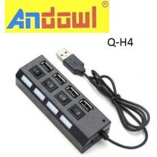 USB 2.0 HUB 4 θύρες με διακόπτες Q-H4 ANDOWL