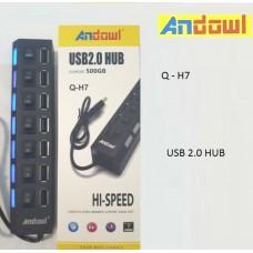 USB 2.0 HUB 7 θύρες με διακόπτες Q-H7 ANDOWL