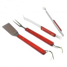 Εργαλεία μπάρμπεκιου ανοξείδωτα με ξύλινη λαβή 3 τεμάχια 16179-12