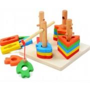 Ξύλινο παιχνίδι ψαρέματος με τέσσερις στήλες