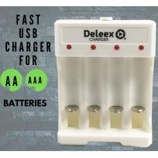 Φορτιστής επαναφορτιζόμενων μπαταριών USB AA / AAA Deleex DX-0604U