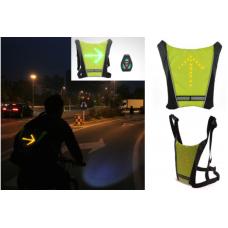 Γιλέκο πλάτης ασφαλείας ποδηλάτου επαναφορτιζόμενο με φωτεινή σήμανση Led και τηλεχειριστήριο