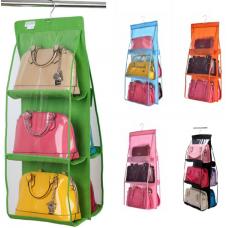 Διαφανής, κρεμαστή θήκη για τσάντες 6 θέσεων