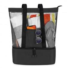 Τσάντα τροφίμων εκδρομής με ισοθερμική θήκη mesh beach tote bag μαύρη