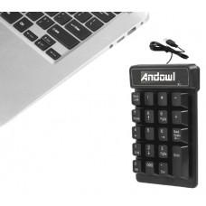 Ενσύρματο αριθμητικό πληκτρολόγιο με καλώδιο USB Q-813 ANDOWL