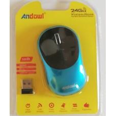 Ασύρματο εργονομικό ποντίκι 2,4 Ghz  τυρκουάζ AN-185 ANDOWL