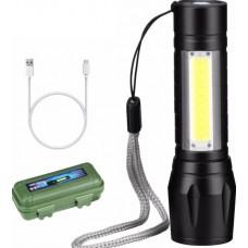 Επαναφορτιζόμενος μίνι φακός LED XPE+COB USB